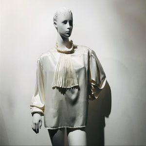 Vintage 70s Ivory Jabot Collar Satin Blouse Sz L